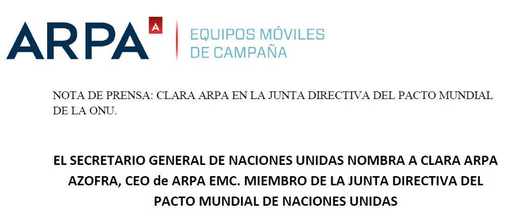 CLARA ARPA EN LA JUNTA DIRECTIVA DEL PACTO MUNDIAL DE LA ONU