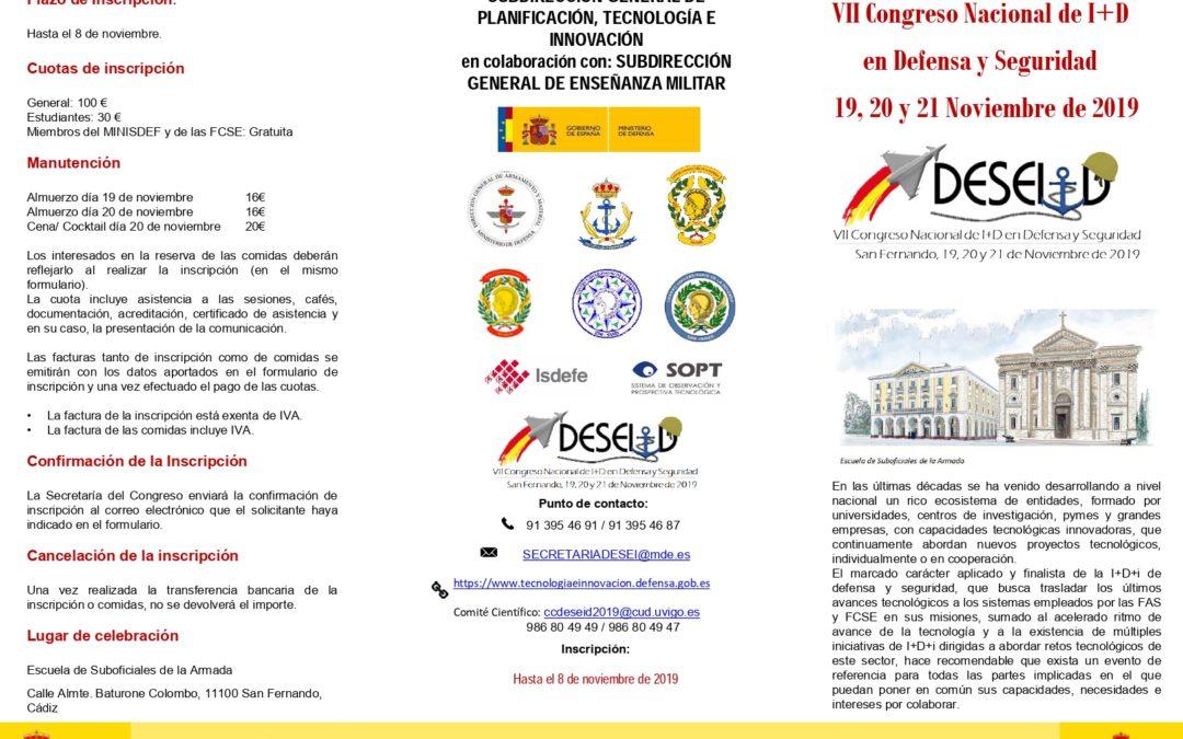 VII Congreso Nacional de I+D en Defensa y Seguridad