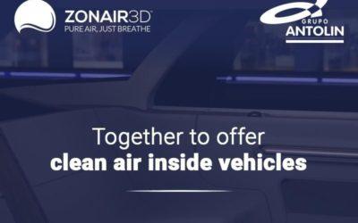 ZONAIR3D y Grupo Antolin firman un acuerdo para ofrecer aire puro en el interior de los vehículos